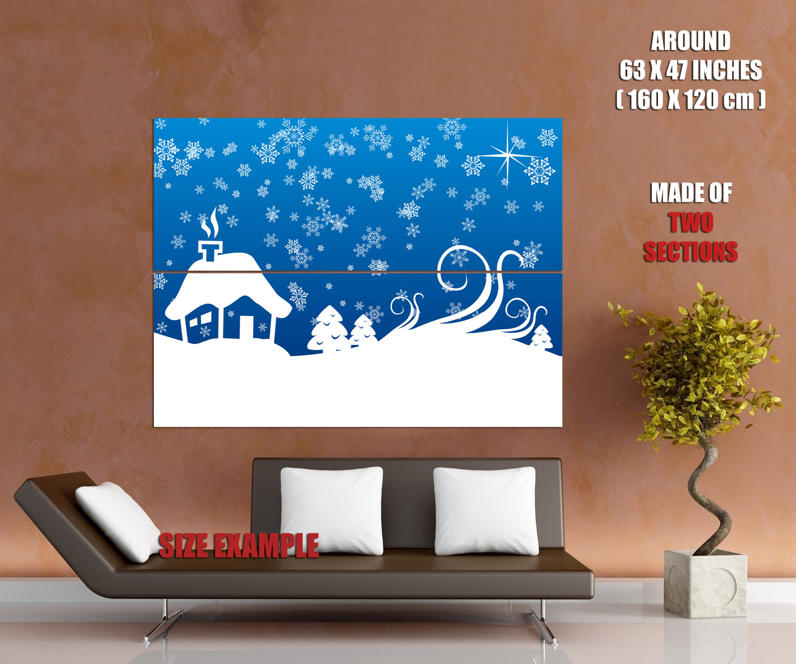 Snowflakes christmas minimal art wall art print poster for Minimal art wall