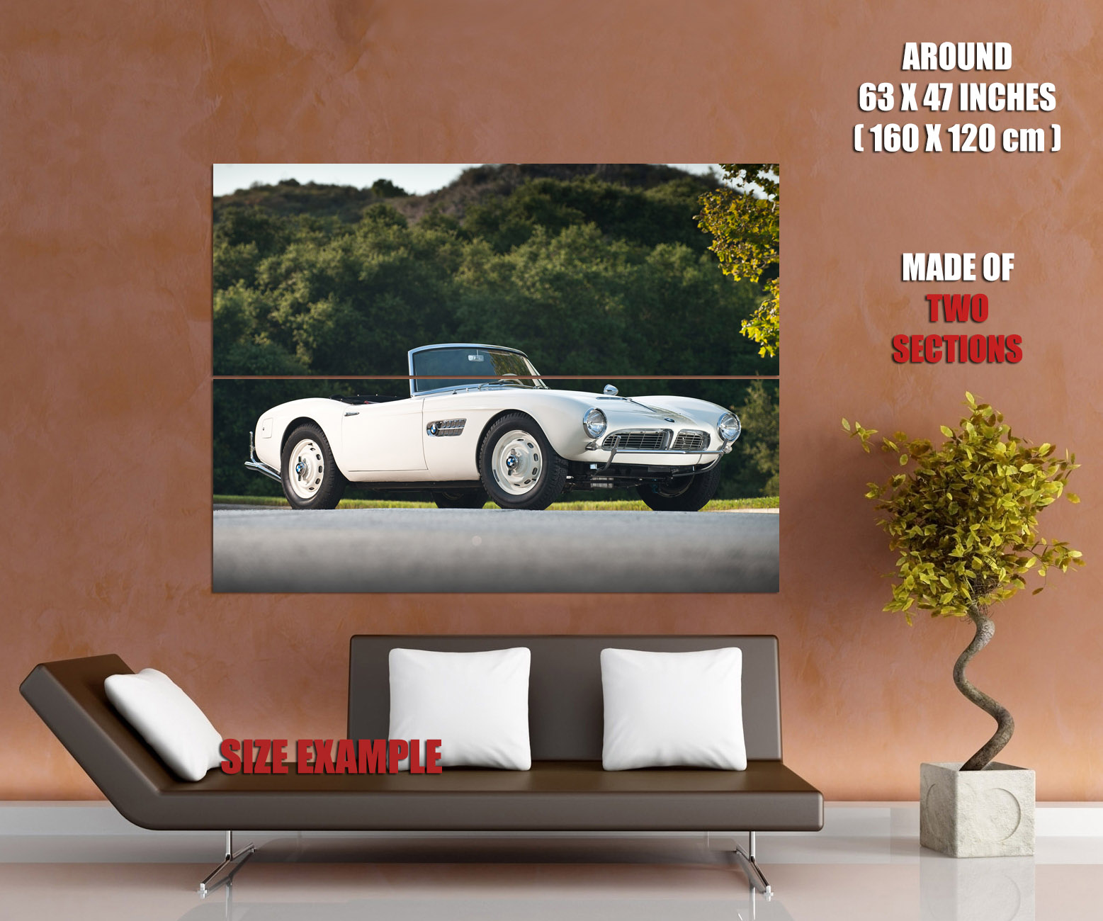bmw 507 white convertible retro car print poster plakat ebay. Black Bedroom Furniture Sets. Home Design Ideas