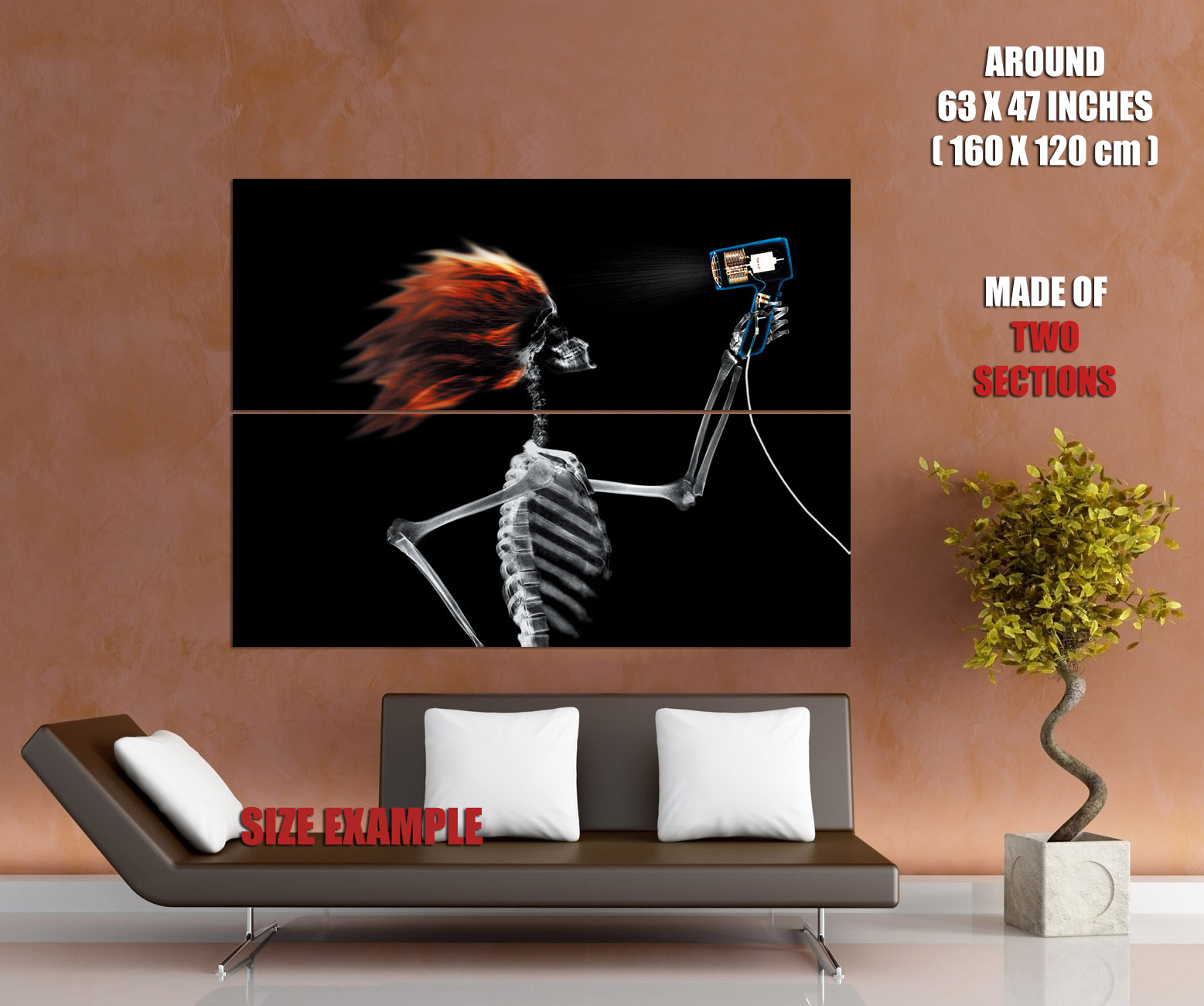 X Ray Skeleton Hairdryer Cool Art Wall Print Poster Uk Ebay