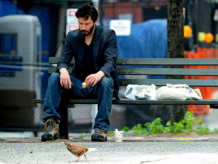 Superb Keanu Reeves Bench Part - 1: Keanu-Reeves-Lonely-Bench-Street-Art-Wall-Print-