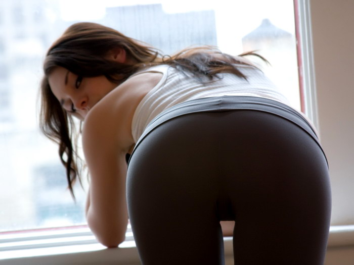 Hot Brunette Girl Spandex Sexy Butt Gigantic Print