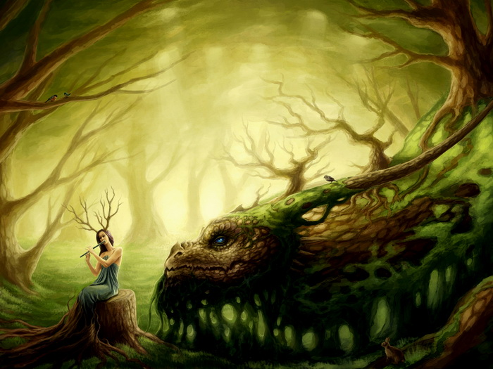 Fantasy Forest Spirit Dragon Flute Art Wall Print POSTER AU | eBay