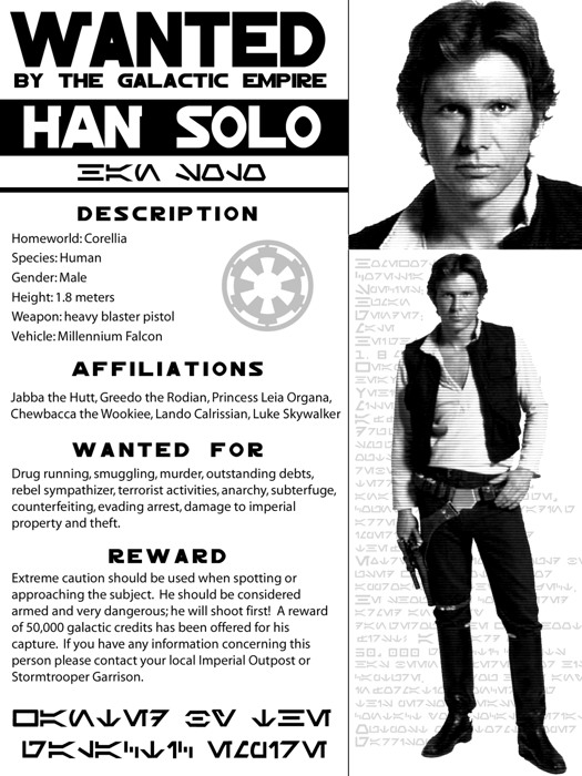 Han Solo Wanted Gigantic Print POSTER Outlaw Star   Criminal Wanted Poster