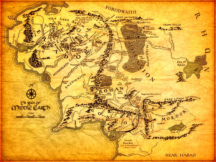 the lord of the rings middle earth map