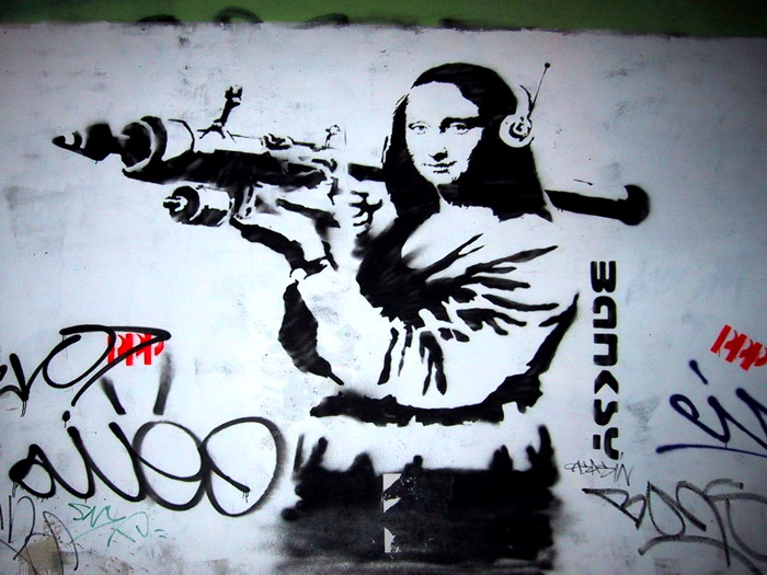 mona lisa grenade launcher banksy graffiti street art print poster plakat ebay. Black Bedroom Furniture Sets. Home Design Ideas