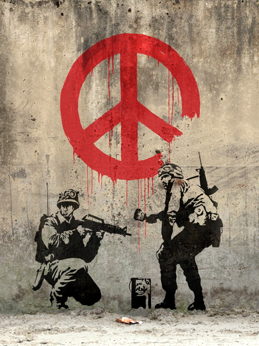 Peace troopers banksy graffiti street art wall print