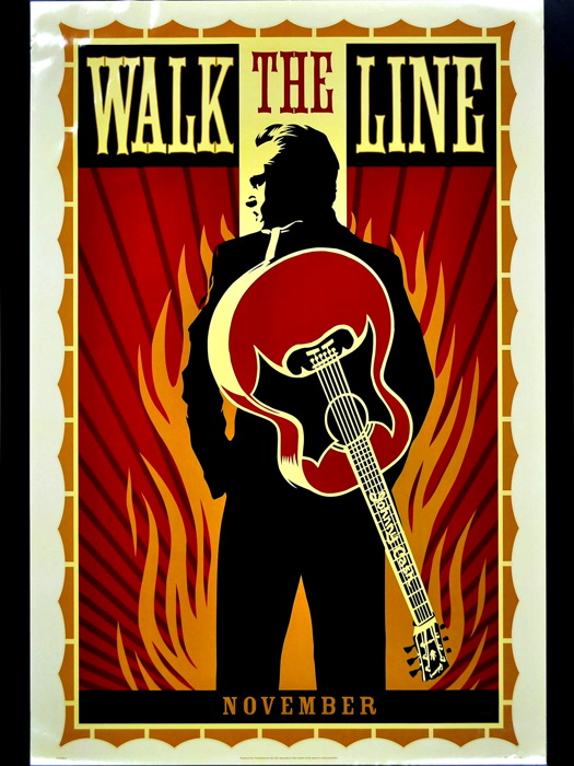 Line Art Posters : Johnny cash walk the line art music gigantic print poster